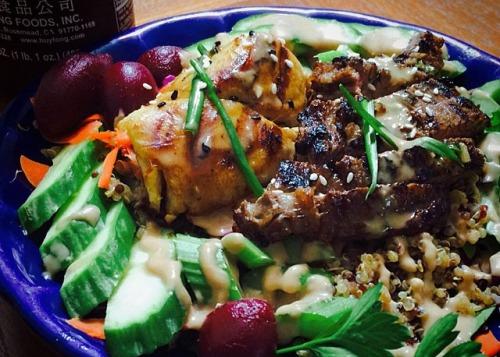 Thai style surf & turf quinoa salad